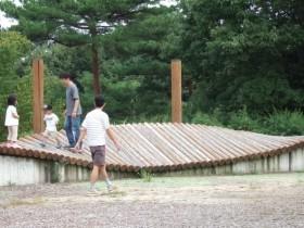 兵庫県立播磨中央公園おもしろ自転車 波打つ廊下